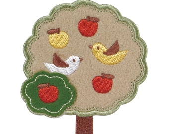 Apple Tree & Bird Patch, Natural Embroidered Iron On Patch, Japanese Kawaii Iron on Applique, Made in Japan, Embroidery Applique, W109