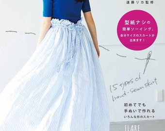 Easy Hand-Sewn Skirt Patterns, Japanese Sewing Pattern Book, Women Cute Clothing, Easy Sewing Tutorial, Simple & Comfortable Design, B1691