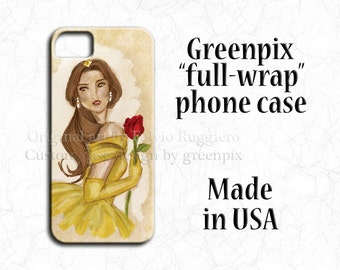 Disney Belle Beauty and the Beast iPhone Galaxy case, enchanted red rose, Disney princess art, iPhone 4 4S 5 5S 5C 6 6S, Galaxy S4 S5 S6 S7