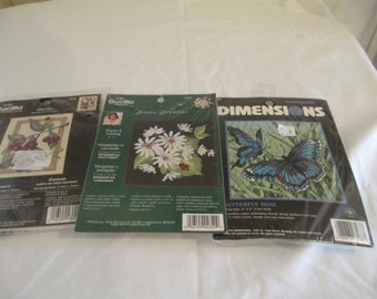 Cross Stitch Kits - Lot of 3 - Dimension 7183 - Bucilla 43602 and 4849