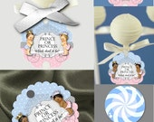 12 Cake Pop Tags, Lollipop,Sucker Tags, Gender Reveal Party, Baby Shower, Prince, Princess, African American, Caucasian, Hispanic Babies