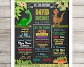 "PRINTED Ready to Frame, Personalized Birthday Poster, 11"" x 14"", 16"" x 20"", 18"" x 24"", Dinosaurs, Dino Theme, Chalkboard Poster, Any Age"