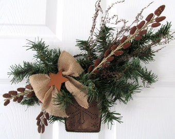 Rustic Floral Arrangement / Rustic Christmas Floral / Primitive Holiday Floral / Primitive Door Hanging / Rustic Copper Floral Hanging