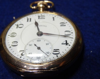Vintage Illinois 17 Jewels 16 Size Pocket Watch In A Double Hinged  Case -S