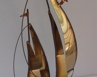 Art Metal Brass, Copper,  Bronze Sailing Boats, Signed on Marble ( Best Wishes, Bay Port P.T.O. 1989, Nautical Sculpture, Sailing Ships