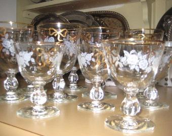 50's Stemware/Gold Bow Glassware/Water/Wine Glasses/10 Set