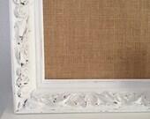 Reserved for Allison-Corkboard Burlap Fabric Memoboard Rustic Chic Cottage Natural DecorWeddings Escort Card Holder