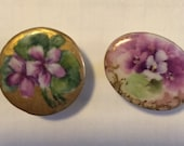 2 Antique Hand Painted Porcelain China Stud Buttons with Purple Flowers