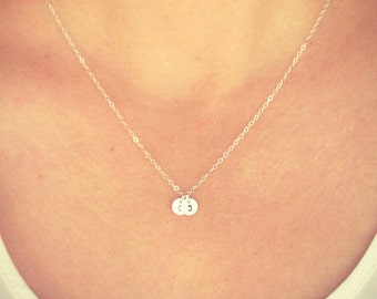 """SALE - Customized Sterling Silver Two 1/4"""" Disc Necklace - Hand Stamped Initial - Personalized Charm - Minimalist Jewelry - The Lovely Rain"""