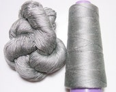 100% Mulberry Queen Silk Yarn 50 gram 3Ply Silver Gray Lace Weight Si 254 Lot B - Cone or Hank