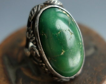 Spectacular Dark Green Turquoise Sterling Art Nouveau Ring