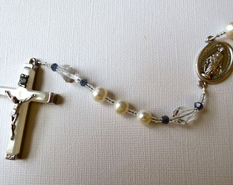 Sapphire Accented Catholic Rosary, Pearl and Sapphire Rosary with Miraculous Medal Center and Mother of Pearl Crucifix