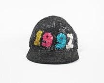 90s Sequin Baseball Cap Vintage Black Sequin Hat 1992 Party Hat Fly Girl Hip Hop Womens Bike Brim Hat Statement Hat Festival Sequined