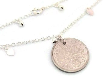 925 Sterling Silver Lucky English Sixpence Coin Anklet. Love Heart Charms. Queen Elizabeth II Era. Pick Your Own Year. 1953 to 1967