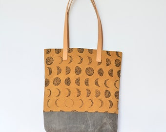 Organic Shoulder Bag with Moon Phase Pattern on Cutch with Waxed Canvas Bottom