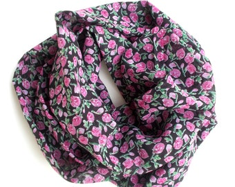 Black Floral Scarf with Pink Rose Buds, Infinity Scarf, LightWeight Scarf, Circle Scarf, Pink and Black, Gifts for Her Under 30,  Handmade