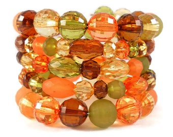 Beaded Bracelet Stack, Fun Jewelry for Teens, Gifts Under 20, Autumn Jewelry, Orange Green Brown, Gifts for Teen Girls, Gifts for Tweens