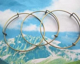 8pcs 64x1.5mm adjustable antiqued bronze bangle bracelets wires