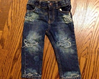 Tore Up from the Floor Up distressed baby jeans (medium/dark wash)