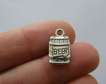 4 Beer keg charms antique silver tone FD135