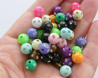 100 Mixed colours 8mm acrylic beads B134
