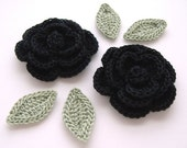 "Black 1-3/4"" Crochet Rose Flower Embellishments w/ Leaves Handmade Scrapbooking Fashion Accessories Appliques - 6 pcs. (3170-02L)"