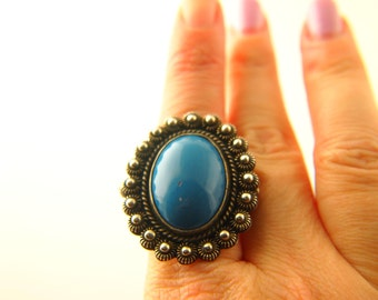 Blue Stone Ring - Sterling Silver - Mexico - Vintage