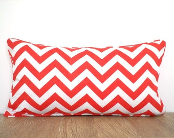 Coral outdoor pillow cover 21x11, chevron lumbar pillow piping, oblong cushion for beach house decor, geometric pillow case
