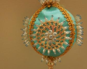 Handmade Vintage Turquoise Christmas Ornament
