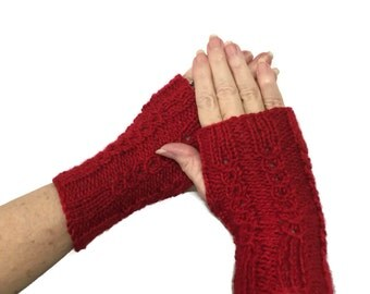 Red Fingerless Gloves, Knit Hand Warmers, Texting Gloves, Driving Gloves, Fingerless Mitts, Gift For Her, Fashion Accessory, Fiber Art