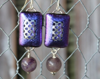 Glass Dichroic Earrings Sterling