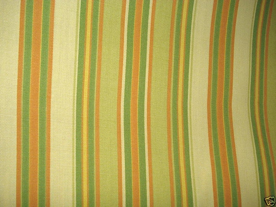 Pea Green Orange Olive Yellow OUTDOOR STRIPE Upholstery