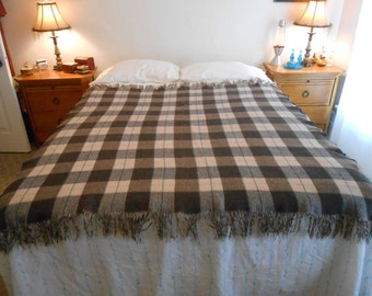 "Plaid Wool Throw/Blanket Throw/Bed or Couch Throw/Stadium Blanket/Size 65"" by 66"""