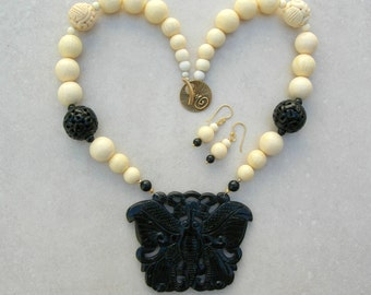 Chinese Black Jade Butterfly Pendant, Carved Black Jade Beads, Ox Bone Beads, Saki Clasp, Statement Necklace Set by SandraDesigns