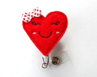 Smiling Heart - Nurses Badge Holder - Cardiac Care Nurse Badge Clip - Valentine's Day Badge Reel - Heart Badge - Teacher Badge - RN - Gift