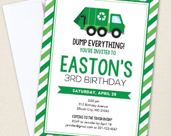 Garbage Truck Party Invitations - Professionally printed *or* DIY printable