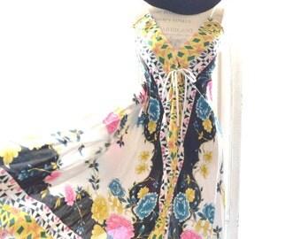 Coachella festival maxi dress, Bohemian beach scarf slip dress, Boho dress, Hippie chic woodstock festival clothing, True rebel clothing OS