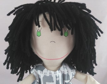 READY TO SHIP Cloth Rag Doll, light skin tone,mop of black hair,Removable Clothes,Rag Doll,Fabric Doll, Stuffed Doll,Plush Doll