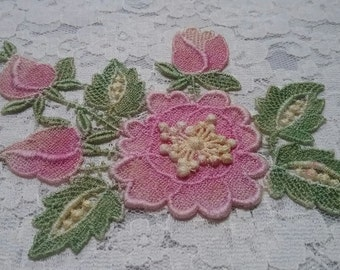 Pink green Flower Hand Dyed Venise Lace Applique Embellishment Crazy Quilt