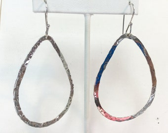 Sterling Silver Hammered Large Irregular Hoop Earrings