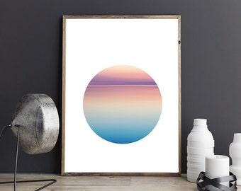 Sunset lake print etsy for Minimal art venezuela