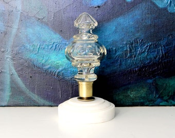 Vintage Cut Glass Finial Repurposed as Paperweight / Glass and Marble Pillar Finial Paper Weight / Xmas Ornament