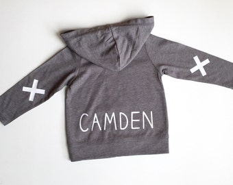 Customized with name dark grey hoodie jacket for baby and toddler