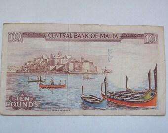 1967 Malta Ten Pound Note Scenery