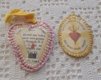 Vintage Reliquaries Sacred Heart, Le Petit Evangile, Jesus Mary Joseph Fr. Andre