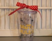 Personalized Math rules teacher gift -  16 oz Insulated cup with music notes and polka dots