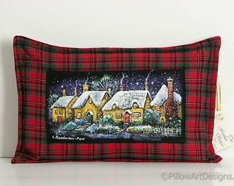 Lumbar Pillow with Insert Plaid Tartan Hand Painted Snowy English Village Red Plaid Lumbar Made in Canada