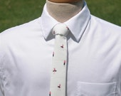 Sailor Girl Skinny Tie - Nautical Men's Necktie - Off White Red & Black Pin Up Girls - Novelty Tie -In Stock