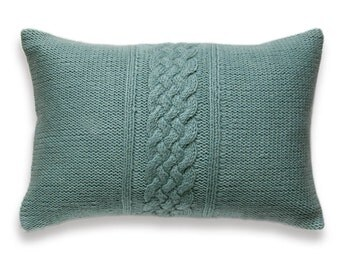 Decorative Cable Knit Pillow Cover In Duck Egg Blue 12x18 inch Wool Linen Lumbar Cushion