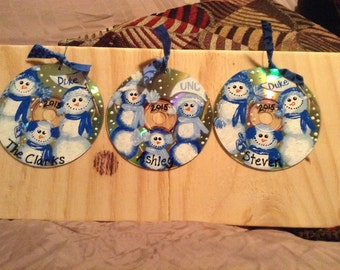 Personalized hand painted cd ornaments